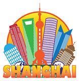 Shanghai City Skyline Color Circle Outline Illustration