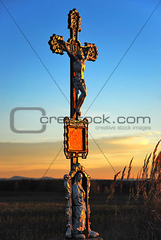 Calvary in meadow