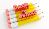 Pencils with text Back to school.