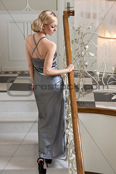 aristocratic blond woman in evening