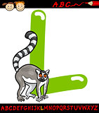 letter l for lemur cartoon illustration