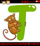 letter t for tarsier cartoon illustration