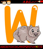 letter w for wombat cartoon illustration