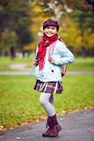 Schoolgirl in park