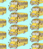 Sketch school bus in vintage style