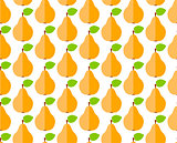Seamless pattern with flat cute pear