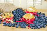 blueberry muffins with burlap bag