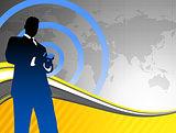 Businessman on World Map Background
