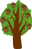 Cartoon oak Tree. Isolated