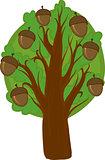 Cartoon oak Tree. Isolated