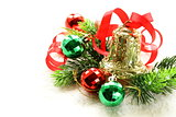 Christmas composition with fir branches and gold bell