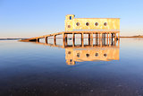 Old historic life-guard bulding in Fuseta, at Ria Formosa