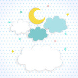 Kids background with moon, clouds and stars