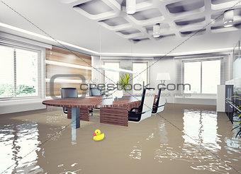 flooding office interior.