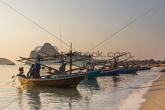 Fishing trawler on the  beach