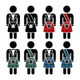 Scotsman, man wearing kilt vector icons set