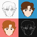 Face of a man in different hair color