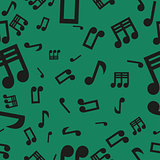 Musical Notes Seamless Pattern Green