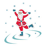 Santa Claus Ice Skating Christmas illustration