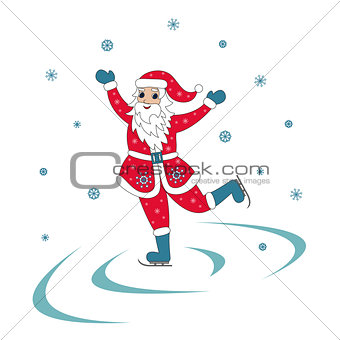 Santa Claus Ice Skating Christmas illustration