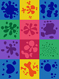 Set of 12 multi-colored blots