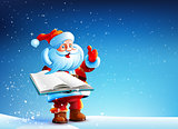 Santa Claus is holding an open book