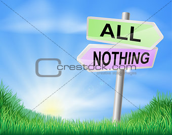 All or nothing decision sign