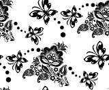 Seamless floral pattern with flower and butterflies