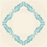 Frame of floral elements. Vector frame in gzhel style.