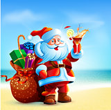 Santa Claus is standing on the sea