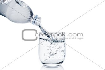 pouring a glass with water trough little bottle and space for text