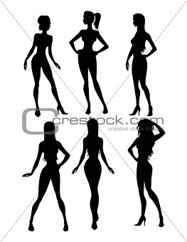 Six girls silhouette