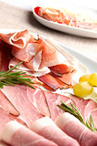 Prosciutto and ham plate