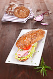 Wholegrain sandwich with ham.