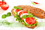Baguette with tomato and mozzarella.