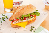 Chicken sandwich with fresh vegetables cheese.