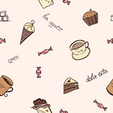 Seamless pattern with the image of sweet food