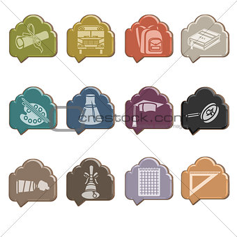 Back to school icon set on glass cloud
