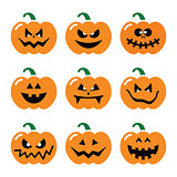 Halloween pumpkin vector icons set