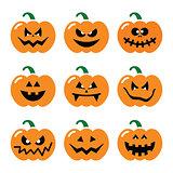 Halloween pumpkin vector icons set