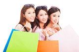 clouseup of  happy asian shopping women with bags