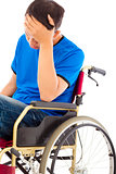depressed handicapped man sitting on a wheelchair