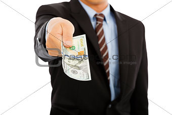 business man holding us dollar money. isolated on white