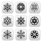 Snowflakes buttons set on black and white background