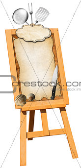 Fish Menu - Wooden Signboard on Easel