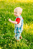 Little Boy Child Running On Green Meadow