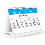 February 2015 desk calendar - vector
