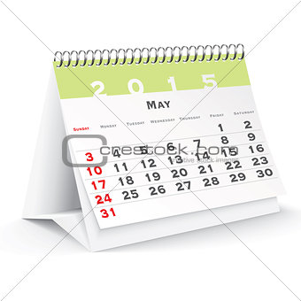 May 2015 desk calendar - vector