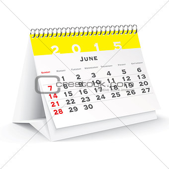 June 2015 desk calendar - vector