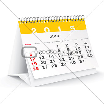 July 2015 desk calendar - vector